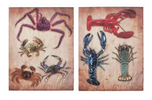 Lobster and Crab Canvas Set of 2