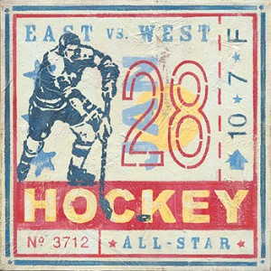 All Star Hockey East vs West Vintage Tin Sign