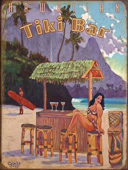 Hawaiian Tiki Bar on the Beach Vintage Metal Sign