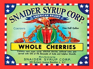 Snaider Syrup Corp Whole Cherries Vintage Metal Sign