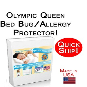 Quick Ship! Olympic Queen Size Allergy and Bed Bug Protection Bed Encasement