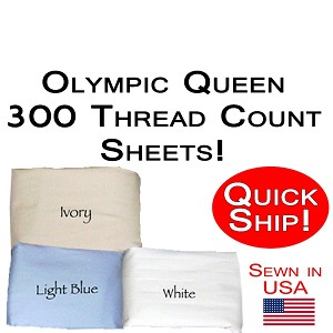 Quick Ship! Luxury Olympic Queen Size Sheet Sets 300 Thread Count
