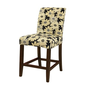 Black Peppercorn Floral Slip Over for Bar Stool