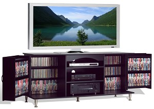 Black 60 in. Plasma TV Console with Media Storage By Prepac