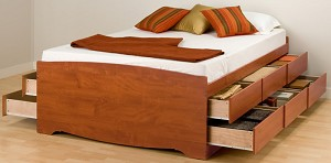 Tall Double Cherry (12-drawer) Platform Storage Bed By Prepac