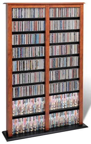 Cherry with Black Bottom Double Width Barrister Tower By Prepac