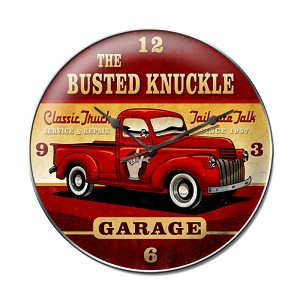 Old Truck Vintage Metal Sign Clock