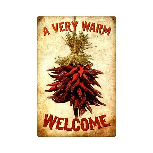 Welcome Chilies Vintage Metal Sign