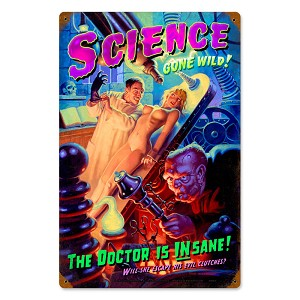 Science Gone Wild Vintage Metal Sign