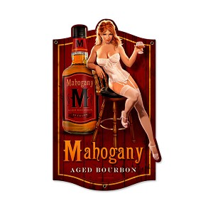 Mahogany Bourbon Vintage Metal Sign