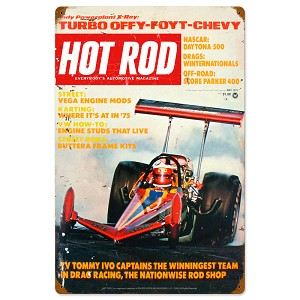 May 1975 Hot Rod Vintage Metal Sign