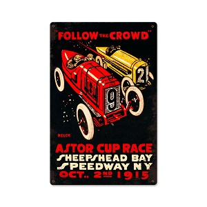 Follow The Crowd Vintage Metal Sign