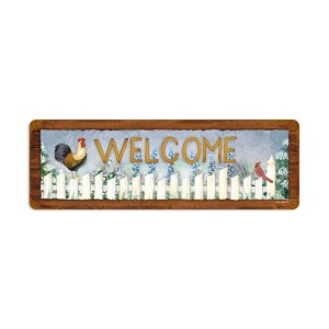 Welcome Rooster Vintage Metal Sign