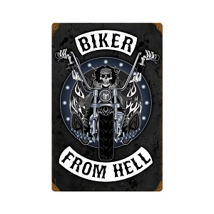 Biker From Hell Vintage Metal Sign