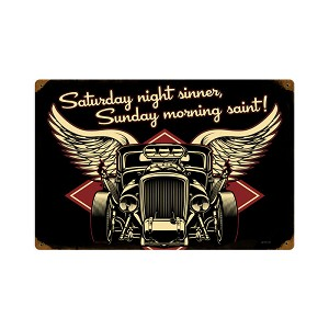 Saturday Night Sinner Vintage Metal Sign