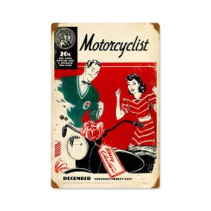 December 1939 Motorcyclist Vintage Metal Sign