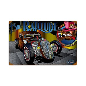 Rat Rod Ratitude Vintage Metal Sign