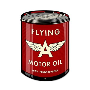 Flying A Oil Can Vintage Metal Sign