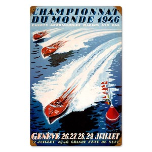 World Champion Boating Vintage Metal Sign