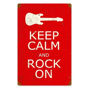 Keep Calm and Rock On Vintage Metal Sign