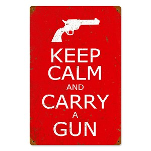 Keep Calm and Carry a Gun Vintage Metal Sign