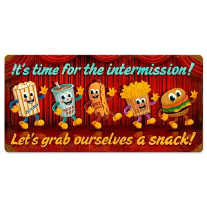 Intermission Snacks Vintage Metal Sign