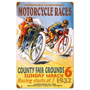 Pro Motorcycle Races Vintage Metal Sign