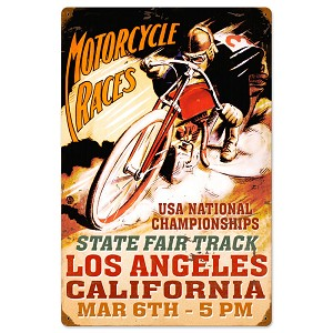 LA Motorcycle Races Vintage Metal Sign
