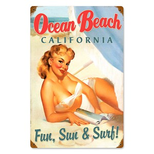 Ocean Beach Pinup Vintage Metal Sign