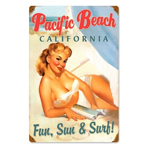 Pacific Beach Pinup Vintage Metal Sign