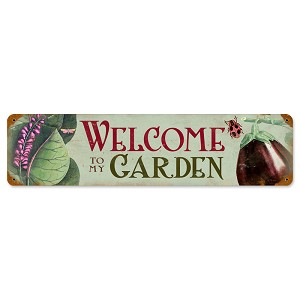 Welcome to my Garden Vintage Metal Sign