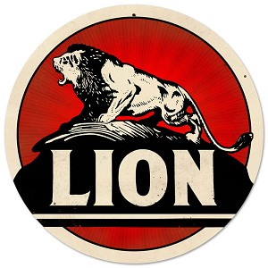 Lion Gasoline Vintage Metal Sign