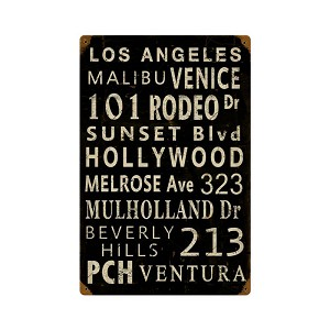 LA Towns Vintage Metal Sign