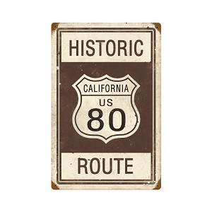 Historic Route 80 Vintage Metal Sign