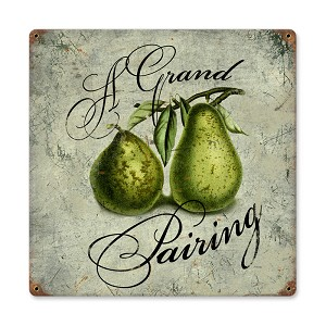 Pear Pairing Vintage Metal Sign