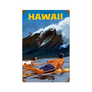 Hawaii Wave Vintage Metal Sign