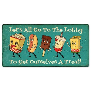 Snacks Go To Lobby Vintage Metal Sign
