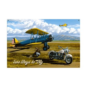 Two Ways to Fly Vintage Metal Sign