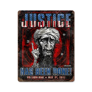 Osama Bin Laden Justice Vintage Metal Sign