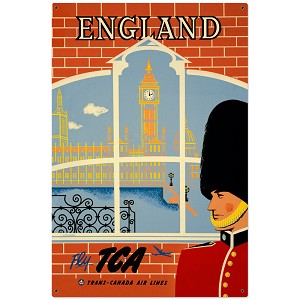England Travel Vintage Metal Sign