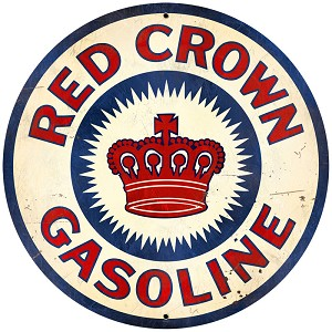 Red Crown Gasoline Vintage Metal Sign