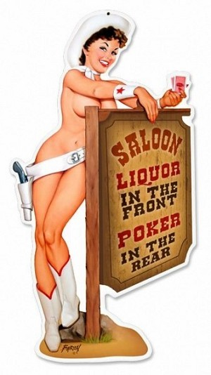 Cowgirl Saloon Metal Sign