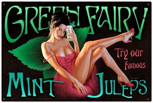 Green Fairy Metal Sign