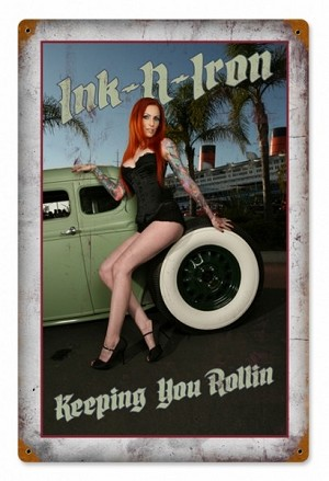 Ink and Iron Keeping Rolling Vintage Metal Sign