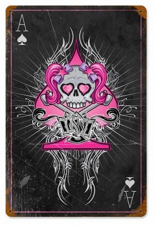 Pink Ace Skull Vintage Metal Sign