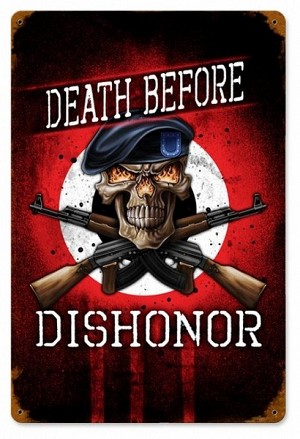Death Before Dishonor Vintage Metal Sign