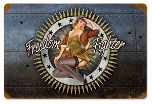 Freedom Fighter Vintage Metal Sign