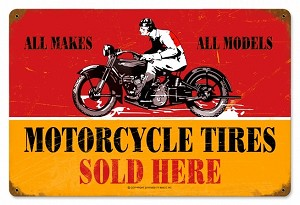 Motorcycle Tires Vintage Metal Sign