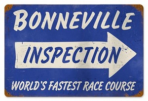 Bonneville Inspection Vintage Metal Sign
