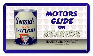 Seaside Oil Can Metal Sign